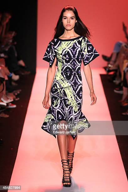 Model walks the runway at Herve Leger By Max Azria during Mercedes-Benz Fashion Week Spring 2015 at The Theatre at Lincoln Center on September 6,...