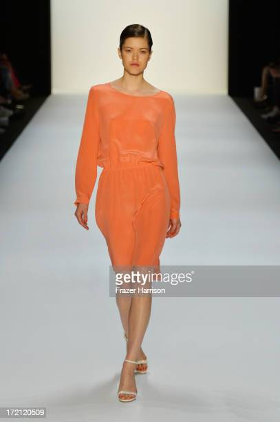 A model walks the runway at Hien Le Show during MercedesBenz Fashion Week Spring/Summer 2014 at Brandenburg Gate on July 2 2013 in Berlin Germany