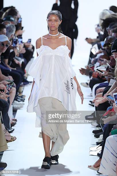 A model walks the runway at Hood By Air show during New York Fashion Week at Skylight at Moynihan Station on September 11 2016 in New York City