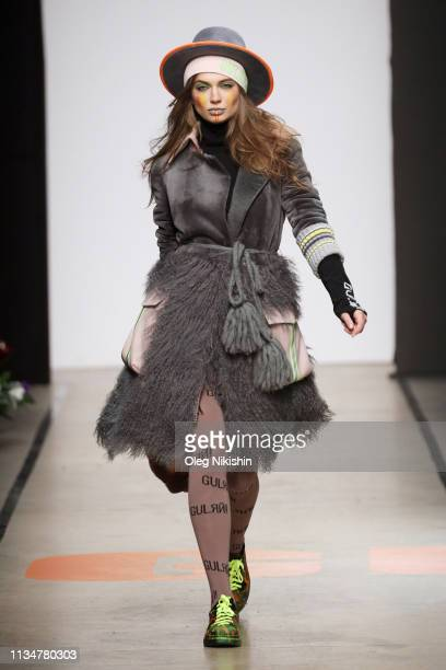 Model walks the runway at Igor Gulyaev show at Mercedes-Benz Fashion Week Russia A/W 2019/2020 at Manege on April 2, 2019 in Moscow, Russia.