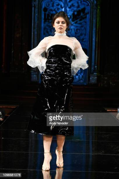 A model walks the runway at INIFD LONDON SCHOOL OF TRENDS At New York Fashion Week Powered By Art Hearts Fashion NYFW at The Angel Orensanz...