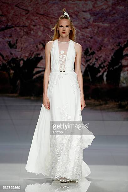 A model walks the runway at Inmaculada Garcia bridal fashion Season 2017 show during 'Barcelona Bridal Fashion Week 2016' on April 27 2016 in...