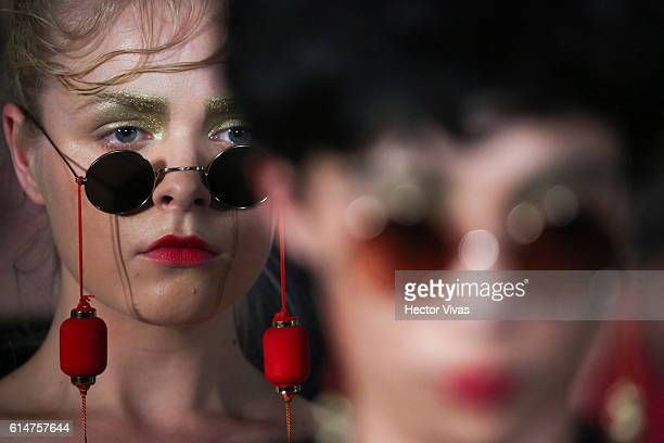 A model walks the runway at Ivan Avalos and Alfredo Martinez show the during MercedesBenz Fashion Week Mexico Spring/Summer 2017 at Foto Museo Cuatro...