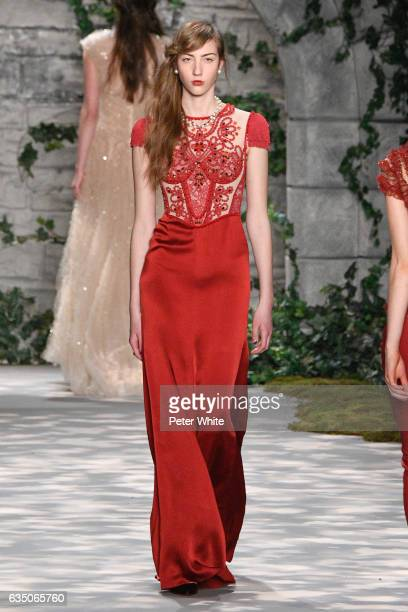 A model walks the runway at Jenny Packham fashion show during New York Fashion Week Fall Winter 20172018 at Gallery 3 Skylight Clarkson Sq on...