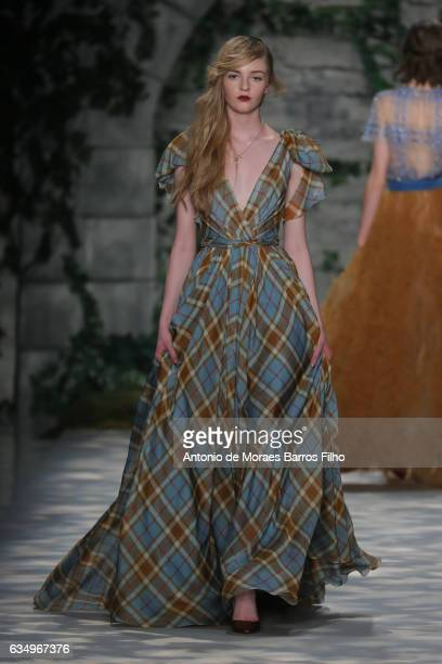 A model walks the runway at Jenny Packham show during New York Fashion Week at Gallery 3 Skylight Clarkson Sq on February 12 2017 in New York City