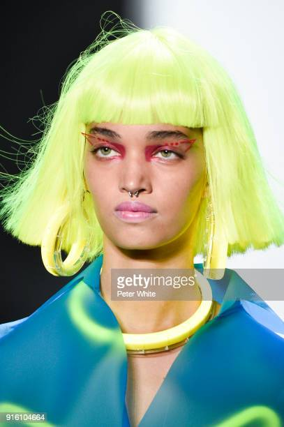 A model walks the runway at Jeremy Scott Show Fall 2018 during New York Fashion Week The Shows at Gallery I at Spring Studios on February 8 2018 in...