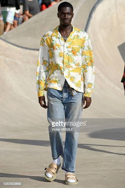 Model walks the runway at John Elliott Spring/Summer 2019 fashion show during New York Fashion Week on September 6, 2018 in New York City.