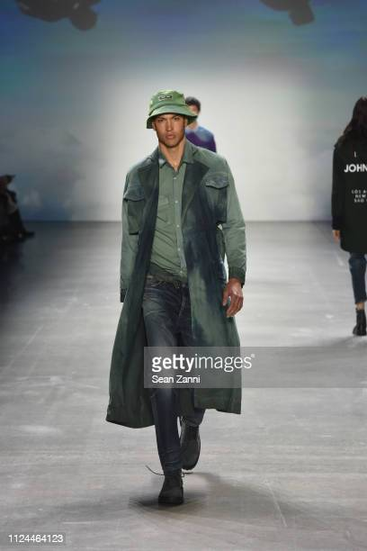 Model walks the runway at John John Fashion Show during New York Fashion Week at Gallery I at Spring Studios on February 12, 2019 in New York City.