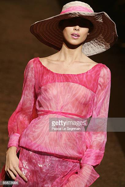 A model walks the runway at John Richmond's Spring/Summer 2006 women's collection during Milan's fashion week on September 27 2005 in Milan