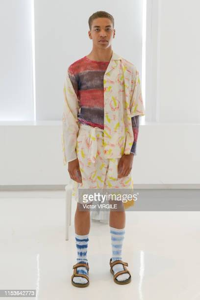 Model walks the runway at Ka Wa Key Ready to Wear Spring/Summer 2020 fashion show during men's New York Fashion Week on June 3, 2019 in New York City.