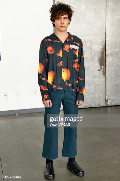 Model walks the runway at Keenkee Ready to Wear Fall/Winter 2019 fashion show during men's New York Fashion Week on February 5, 2019 in New York City.