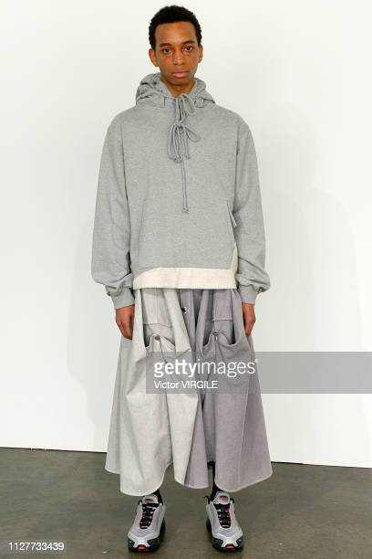 A model walks the runway at Keenkee Ready to Wear Fall/Winter 2019 fashion show during men's New York Fashion Week on February 5 2019 in New York City