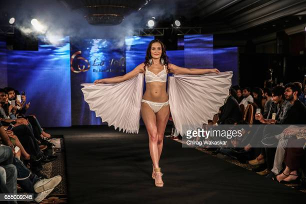 A model walks the runway at Keith Jackson show during India Intimate Fashion Week 2017 at Hotel Leela on March 18 2017 in Mumbai India