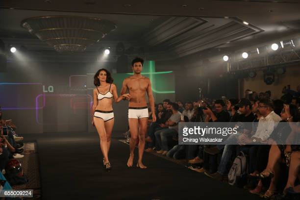 A model walks the runway at La Intimo show during India Intimate Fashion Week 2017 at Hotel Leela on March 18 2017 in Mumbai India