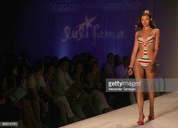 A model walks the runway at Luli Fama 2009 collection fashion show during MercedesBenz Fashion Week Swim at the Raleigh Hotel on July 20 2008 in...