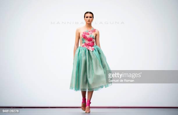 A model walks the runway at Madrid Bridal Week 2018 Hannibal Laguna on April 18 2018 in Madrid Spain