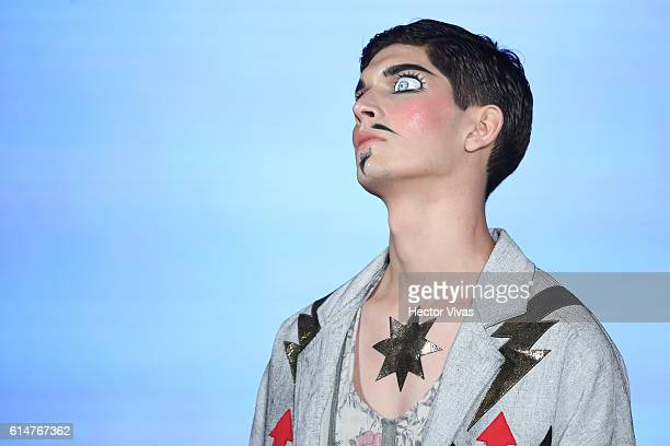 A model walks the runway at Malafacha show the during MercedesBenz Fashion Week Mexico Spring/Summer 2017 at Foto Museo Cuatro Caminos on October 14...
