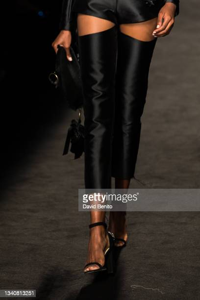 Model walks the runway at Malne fashion show during Mercedes Benz Fashion Week Madrid on September 16, 2021 in Madrid, Spain.