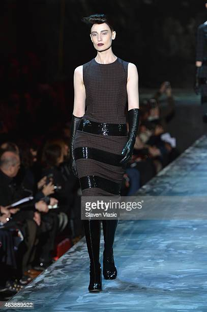 A model walks the runway at Marc Jacobs fashion show during MercedesBenz Fashion Week Fall 2015 at Park Avenue Armory on February 19 2015 in New York...