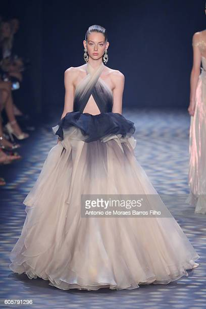 Model walks the runway at Marchesa show during New York Fashion Week at The Dock, Skylight at Moynihan Station on September 14, 2016 in New York City.