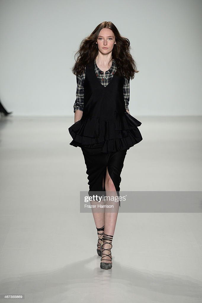 A model walks the runway at Marissa Webb fashion show during Mercedes-Benz Fashion Week Fall 2014 at The Salon at Lincoln Center on February 6, 2014 in New York City.