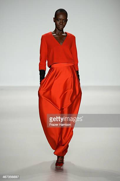 A model walks the runway at Marissa Webb fashion show during MercedesBenz Fashion Week Fall 2014 at Lincoln Center on February 6 2014 in New York City