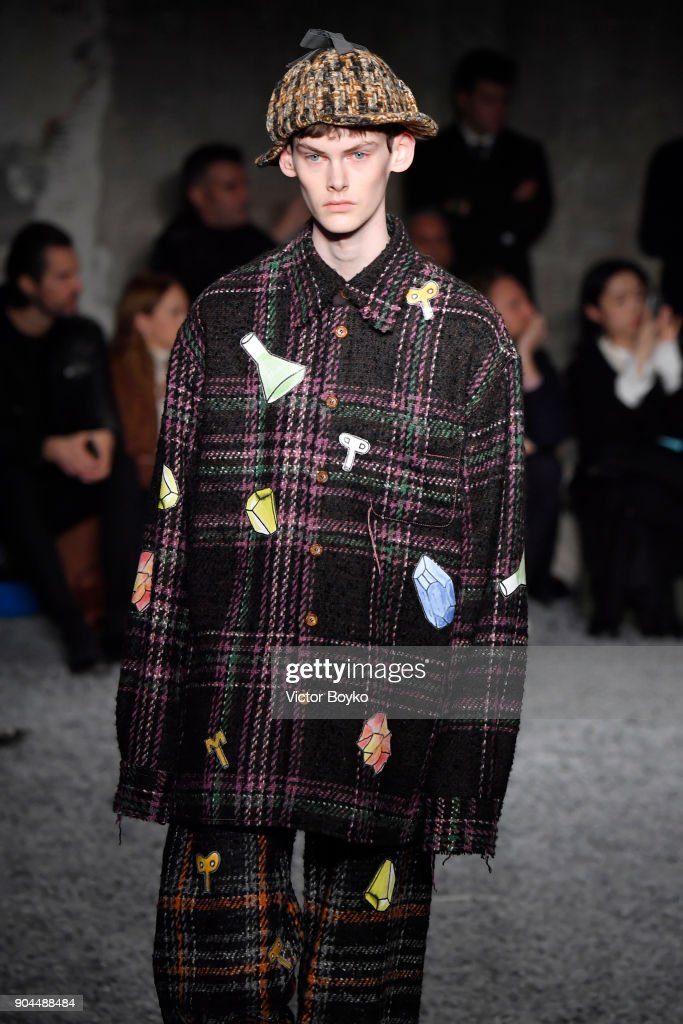 A model walks the runway at Marni show during Milan Men's Fashion Week Fall/Winter 2018/19 on January 13, 2018 in Milan, Italy.