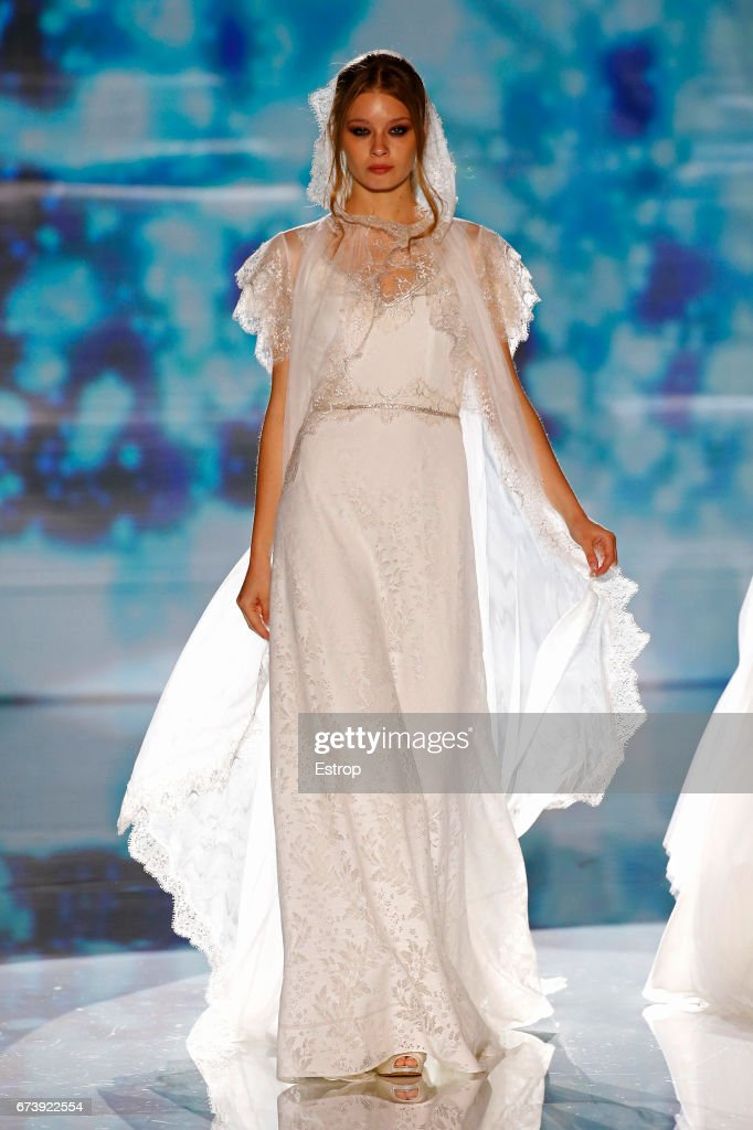 A model walks the runway at Marylise & Rembo Styling during Barcelona Bridal Fashion Week 2017 on April 27, 2017 in Barcelona, Spain.