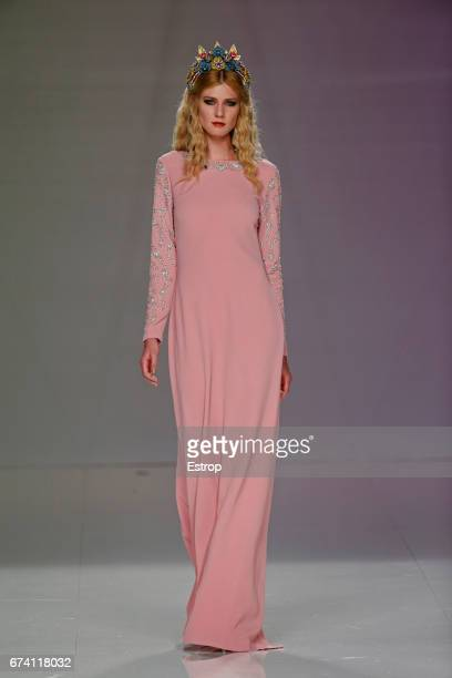 A model walks the runway at Matilde Cano show during Barcelona Bridal Fashion Week 2017 on April 27 2017 in Barcelona Spain