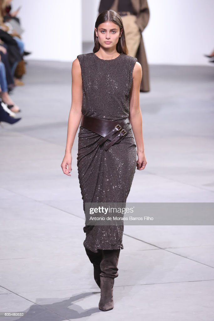 A model walks the runway at Michael Kors show during New York Fashion Week at Spring Studios on February 15, 2017 in New York City.