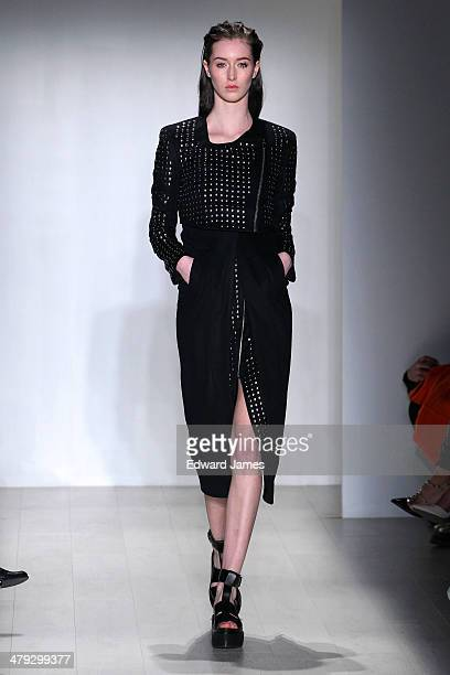 A model walks the runway at Mikael Kale during World Mastercard fashion week on March 17 2014 in Toronto Canada