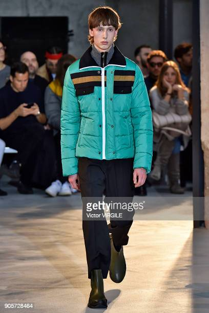 A model walks the runway at N21 show during Milan Men's Fashion Week Fall/Winter 2018/19 on January 15 2018 in Milan Italy