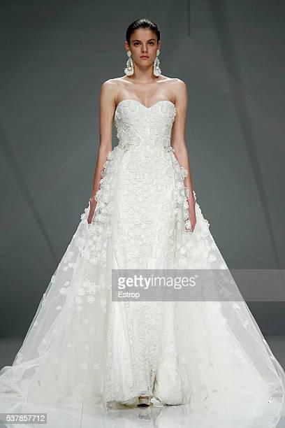 A model walks the runway at Naeem Khan bridal fashion Season 2017 show during 'Barcelona Bridal Fashion Week 2016' on April 27 2016 in Barcelona Spain