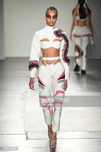 A model walks the runway at Namilia during New York Fashion Week at Pier 59 Studios on February 9 2020 in New York City