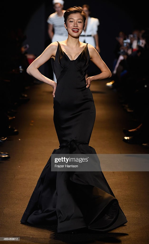A model walks the runway at Naomi Campbell's Fashion For Relief Charity Fashion Show during Mercedes-Benz Fashion Week Fall 2015 at The Theatre at Lincoln Center on February 14, 2015 in New York City.