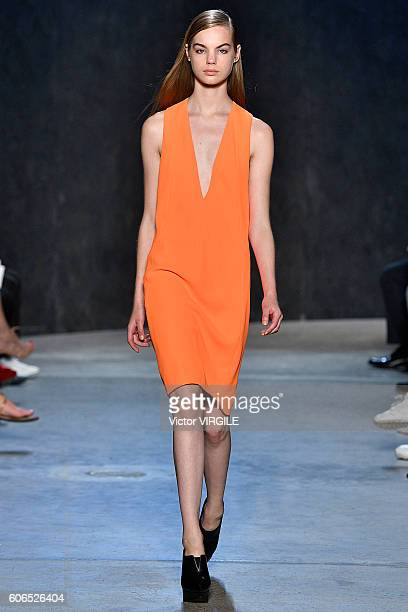 A model walks the runway at Narciso Rodriguez Ready to Wear Spring Summer 2017 fashion show during September 2016 New York Fashion Week at SIR Stage...