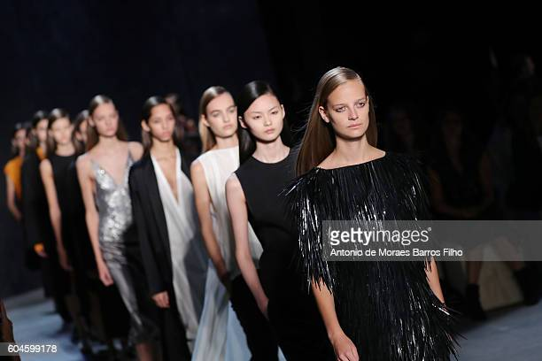 A model walks the runway at Narciso Rodriguez show during New York Fashion Week at SIR Stage37 on September 13 2016 in New York City