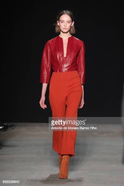 A model walks the runway at Narciso Rodriguez show during New York Fashion Week on February 14 2017 in New York City