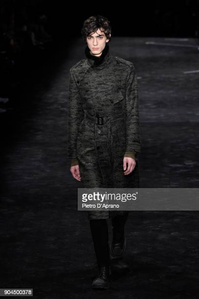 A model walks the runway at Neil Barrett show during Milan Men's Fashion Week Fall/Winter 2018/19 on January 13 2018 in Milan Italy