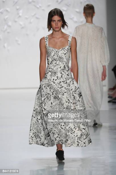 A model walks the runway at Noon By Noor during New York Fashion Week at Gallery 3 Skylight Clarkson Sq on September 7 2017 in New York City