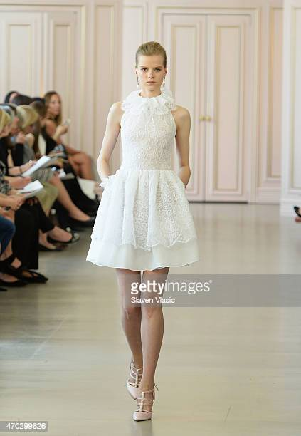 A model walks the runway at Oscar De La Renta Bridal Spring/Summer 2016 Runway Show at Oscar de la Renta Boutique on April 18 2015 in New York City