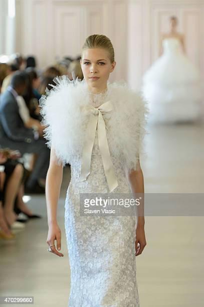 A model walks the runway at Oscar De La Renta Bridal Spring/Summer 2016 Runway Show at at Oscar de la Renta Boutique on April 18 2015 in New York City