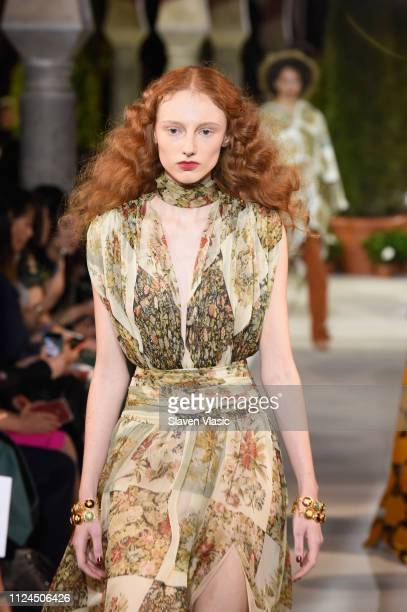 Model walks the runway at Oscar De La Renta during New York Fashion Week at the Cunard Building on February 12, 2019 in New York City.