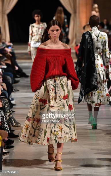 A model walks the runway at Oscar De La Renta fashion show during February 2018 New York Fashion Week at The Cunard Building on February 12 2018 in...