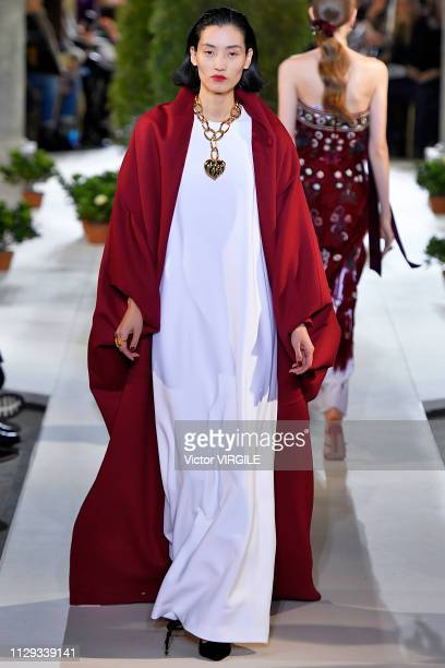 A model walks the runway at Oscar De La Renta Ready to Wear Fall/Winter 20192020 fashion show during New York Fashion Week on February 12 2019 in New...