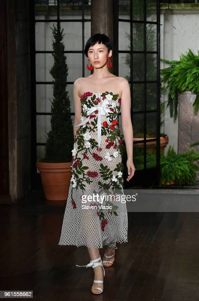A model walks the runway at Oscar De La Renta Resort 2019 Runway Show at Academy Mansion on May 22 2018 in New York City
