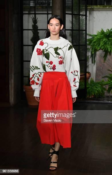 A model walks the runway at Oscar De La Renta Resort 2019 Runway Show at Academy Mansion on May 22 2018 in New York City