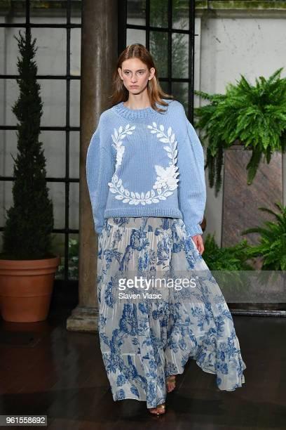 Model walks the runway at Oscar De La Renta Resort 2019 Runway Show at Academy Mansion on May 22, 2018 in New York City.