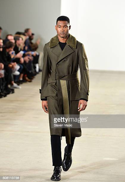 Model walks the runway at Ovadia & Sons Fashion show at New York Fashion Week Men's Fall/Winter 2016 at Skylight at Clarkson Sq on February 2, 2016...