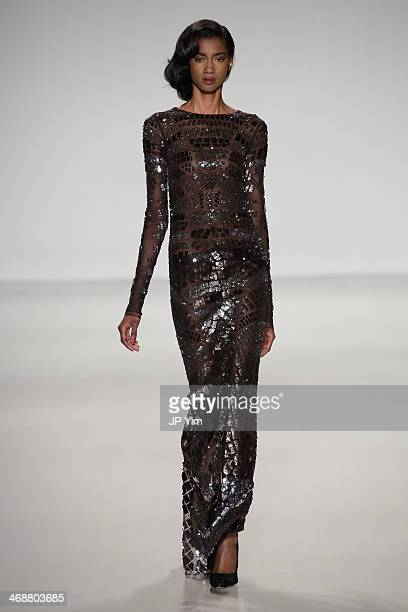 A model walks the runway at Pamella Roland Fall 2014 Collection during MercedesBenz Fashion Week Fall 2014 at The Salon at Lincoln Center on February...